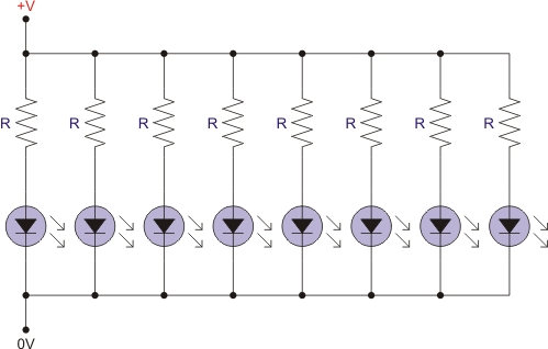 led-in-paralele-with-resistors