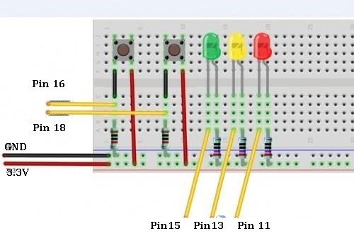 GPIO Pins On Raspberry Pi circuit connection