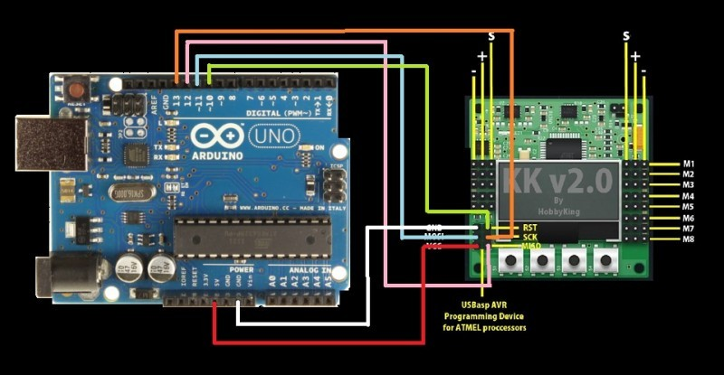 flash kk2 0 kk2 1 1 6 firmware update upgrade using arduino oscar rh oscarliang com KK2 Wiring Circuit Diagram KK2 Wiring Circuit Diagram