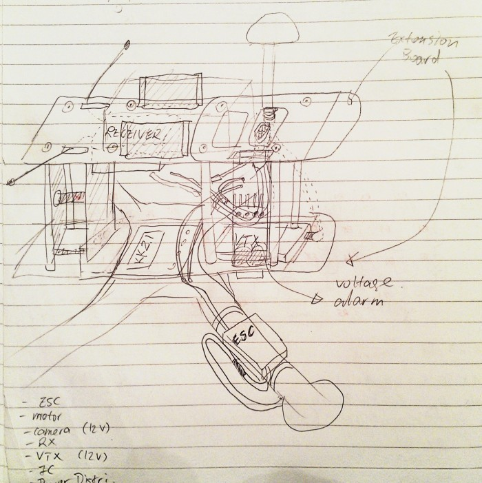 Fpv250 Setup On Paper Drawing