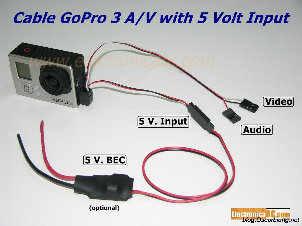 use gopro mobius for fpv camera and external power oscar liang gopro external power ubec connction