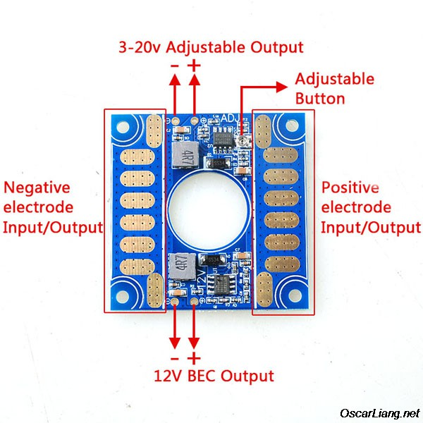 banggood power Distribution Board connection 5v 12v adjustable voltage bec output esc distribution connection  at edmiracle.co