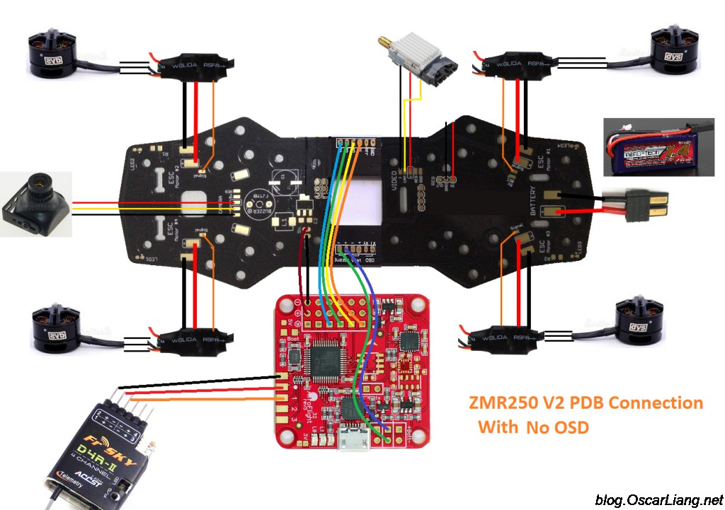 Quadcopter Wiring Diagram Cc3d : Zmr v build log mini quad with pdb oscar liang