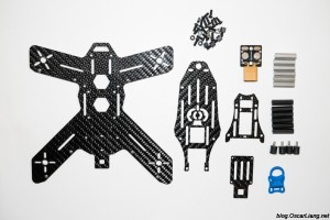 The Midge 180 Mini Quad Frame package parts