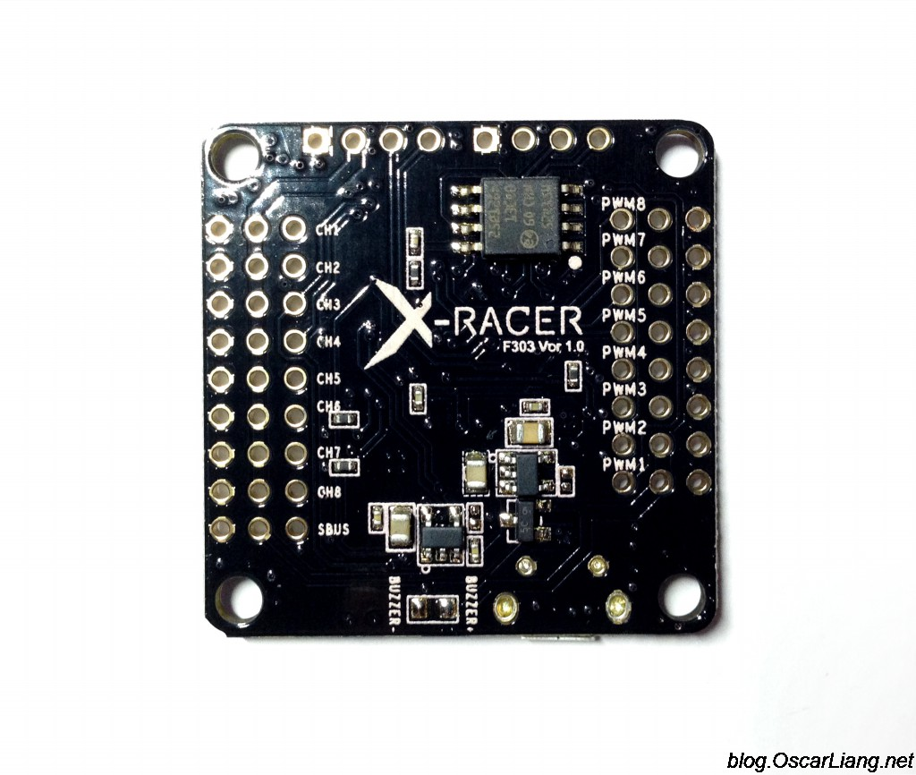 XRacer F303 flight controller bottom review xracer f3 flight controller fpvmodel oscar liang  at bakdesigns.co