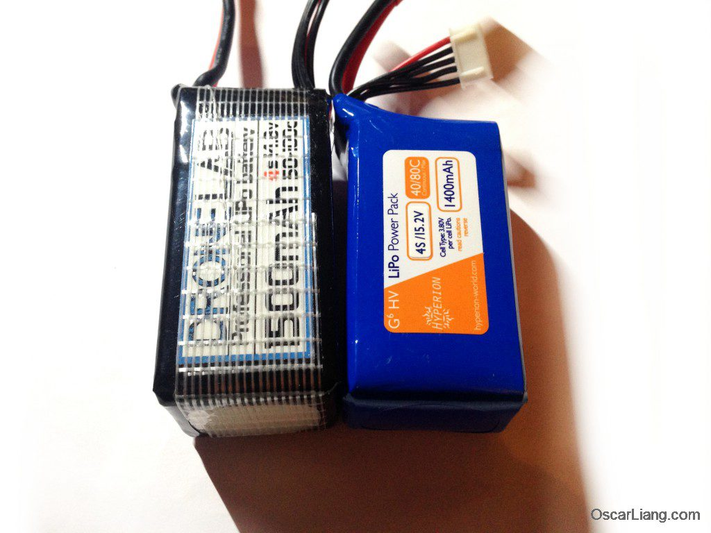 Hyperion 1800mah 4S HVLi battery 4.35V compare to drone-lab size