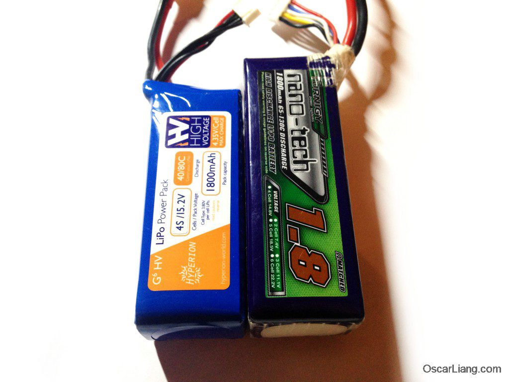 Hyperion 1800mah 4S HVLi battery 4.35V compare to turnigy nano tech size