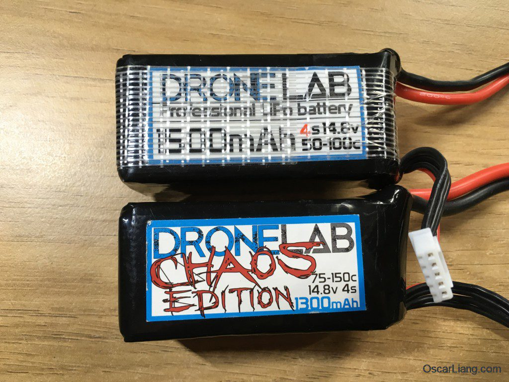 Dronelab chaos lipo 4s battery testing 1300mah 1500mah comparison old
