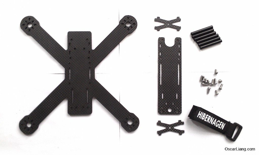Hibernagen Menel X 5 mini quad frame parts carbon fibre hardware
