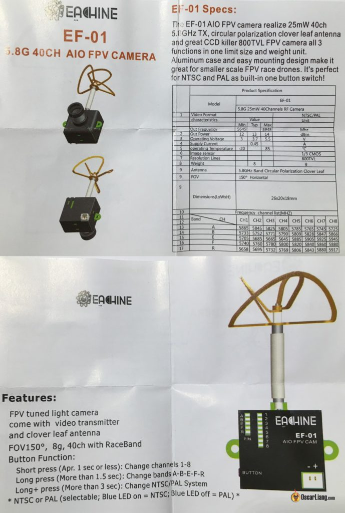 eachine ef-01 aio fpv camera vtx manual
