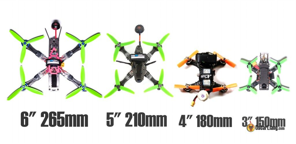 mini quad frame sizes - propellers size