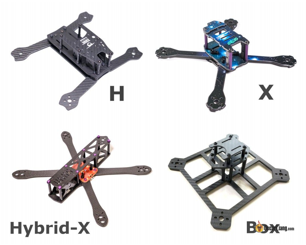 mini quad frame arm layout: H, X, hybrid-X, Box