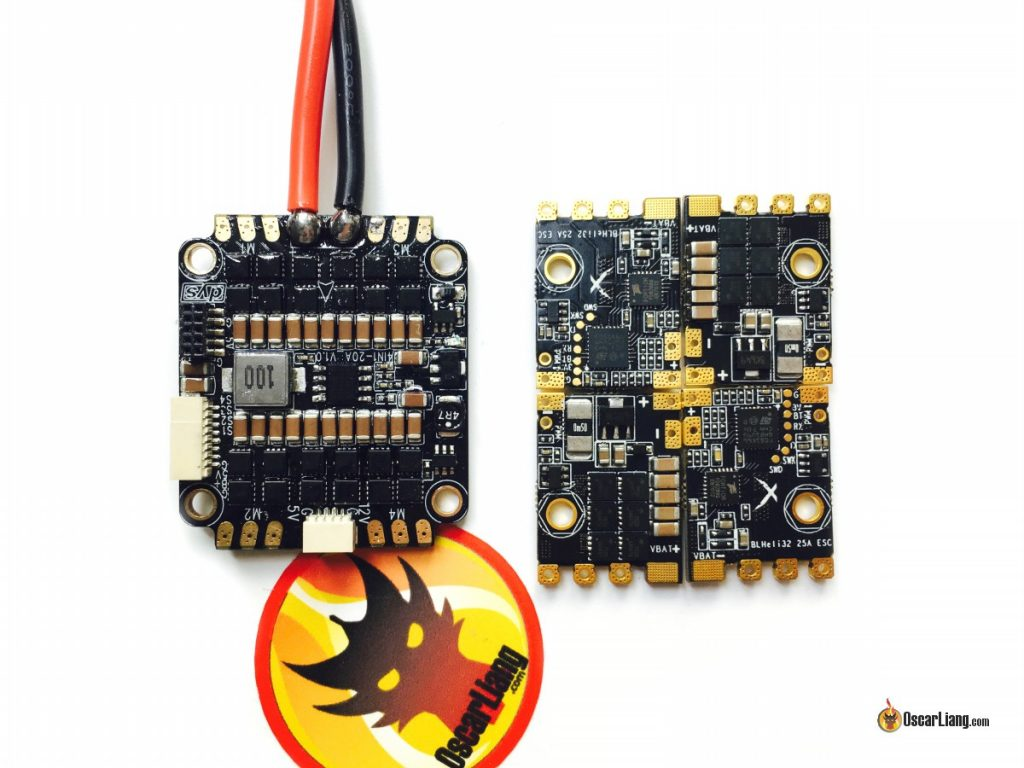 Left: DYS F20A 4in1 ESC; Right: Quadrant 25A ESC