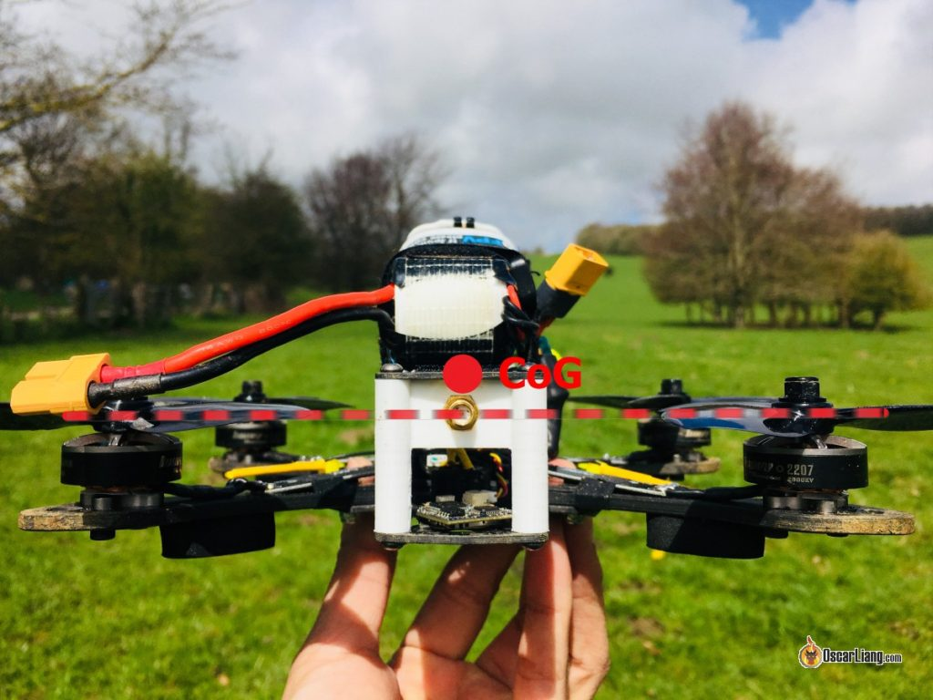 top mounted lipo battery in FPV drone COG effect