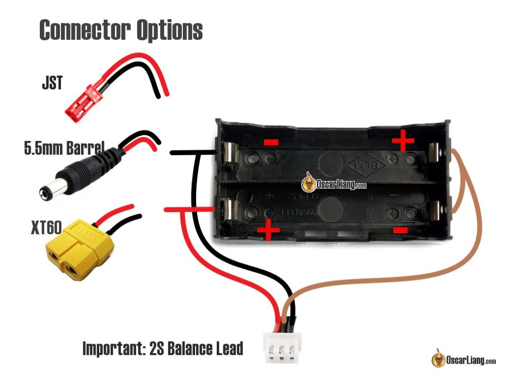Battery Holder Cell Connection Wiring Xt Jst Mm Barrel Goggles X on 4s Lipo Battery Diagram