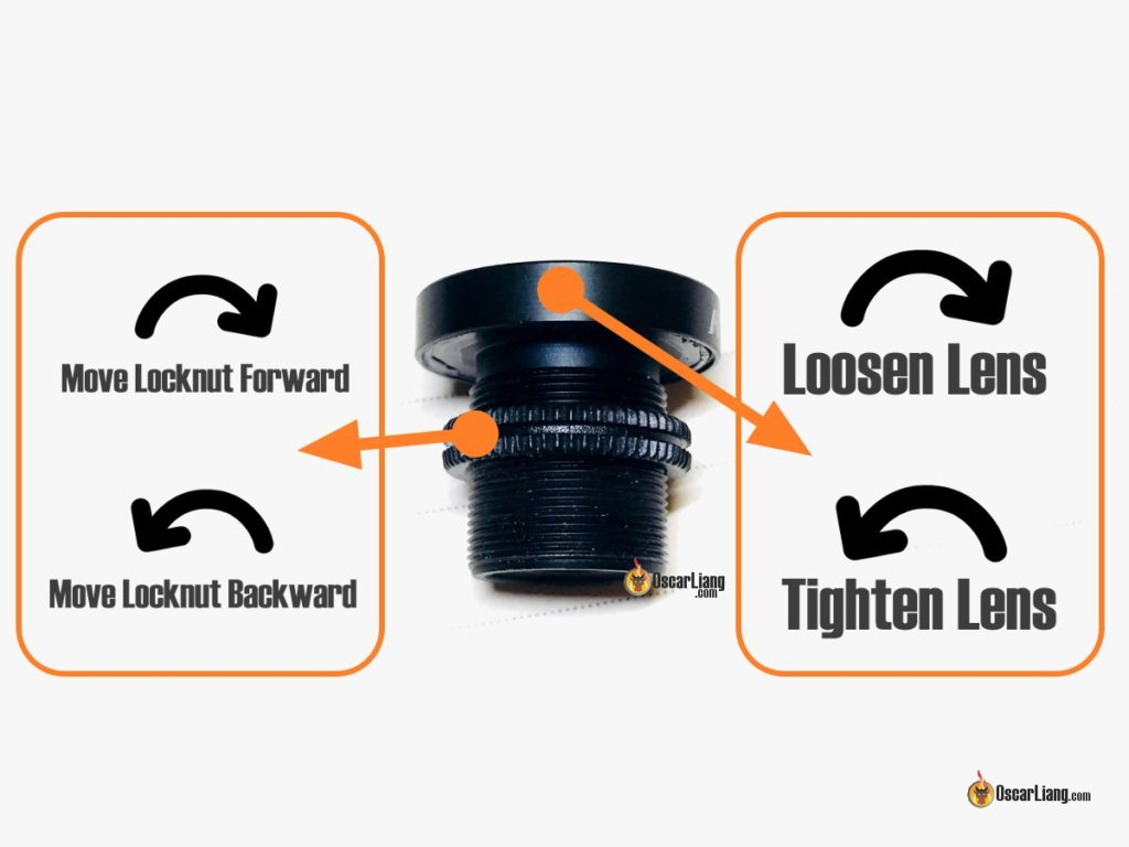 Focus FPV Camera Lens - Turning Direction for the lens and Locknut