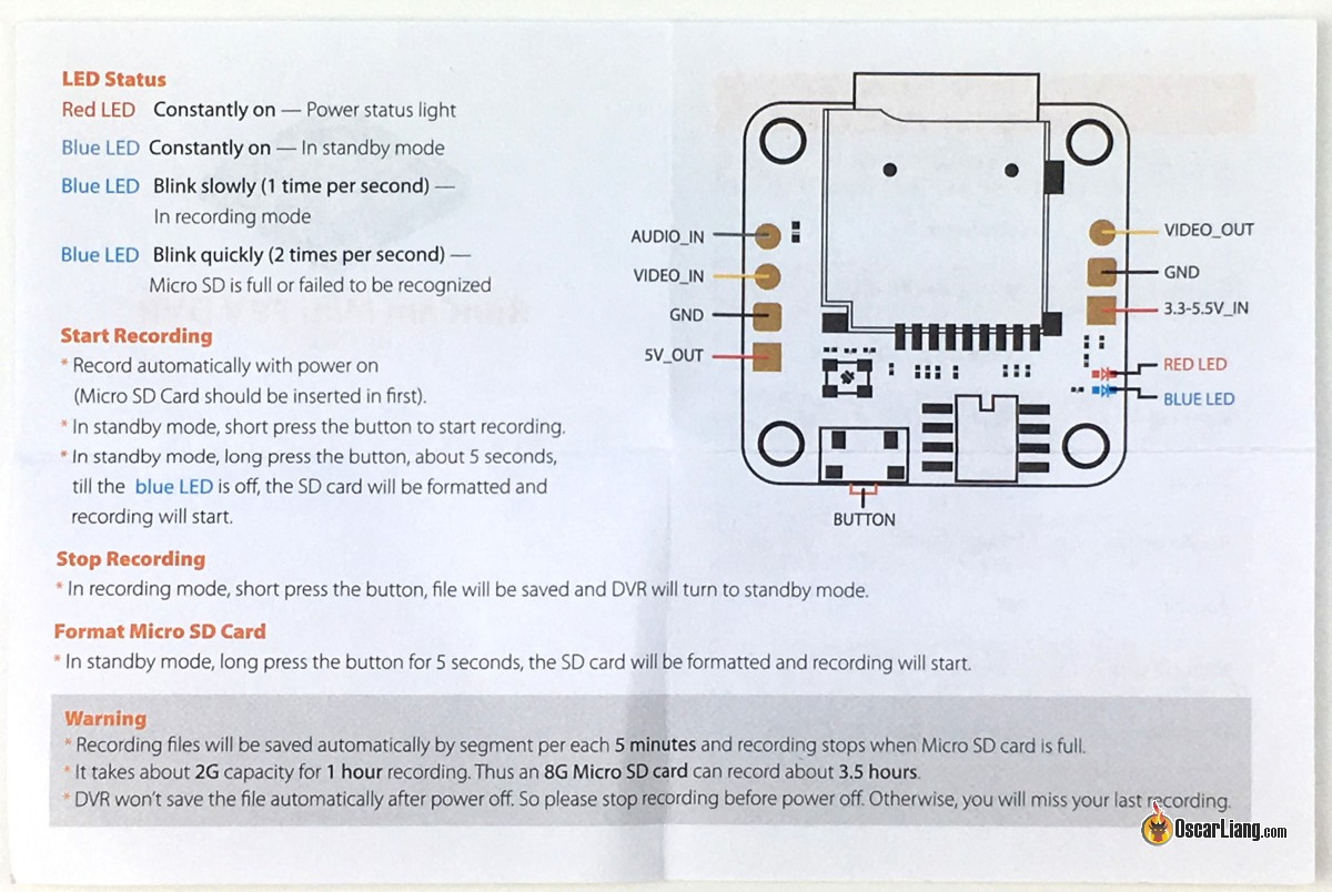 Review Runcam Mini Dvr Board Oscar Liang Camera Circuit Schematic Here Is The Manual That Comes With