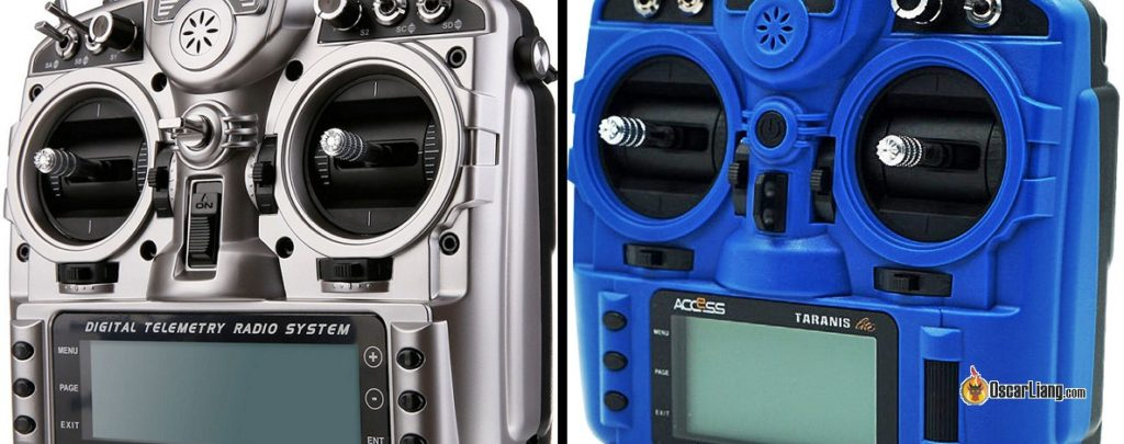 Close up comparison between Taranis X9D-Plus (left) and X9 Lite (right)