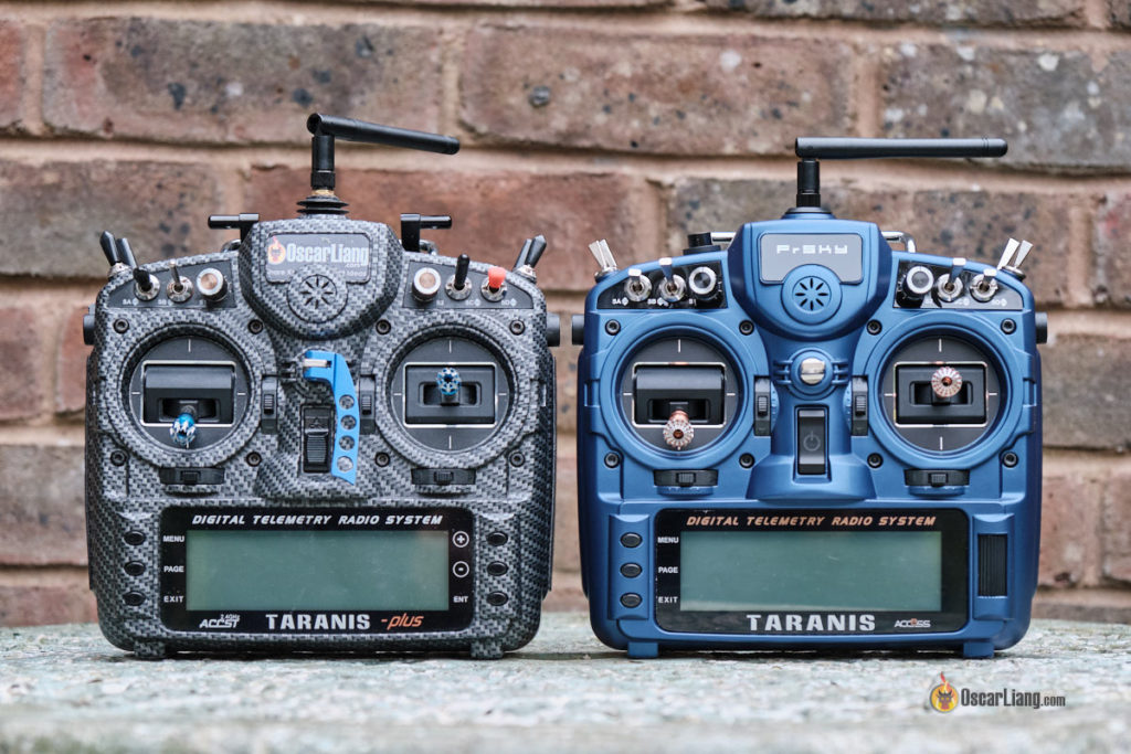 Old Taranis X9D+ sitting side by side with the new Taranis X9D+ 2019