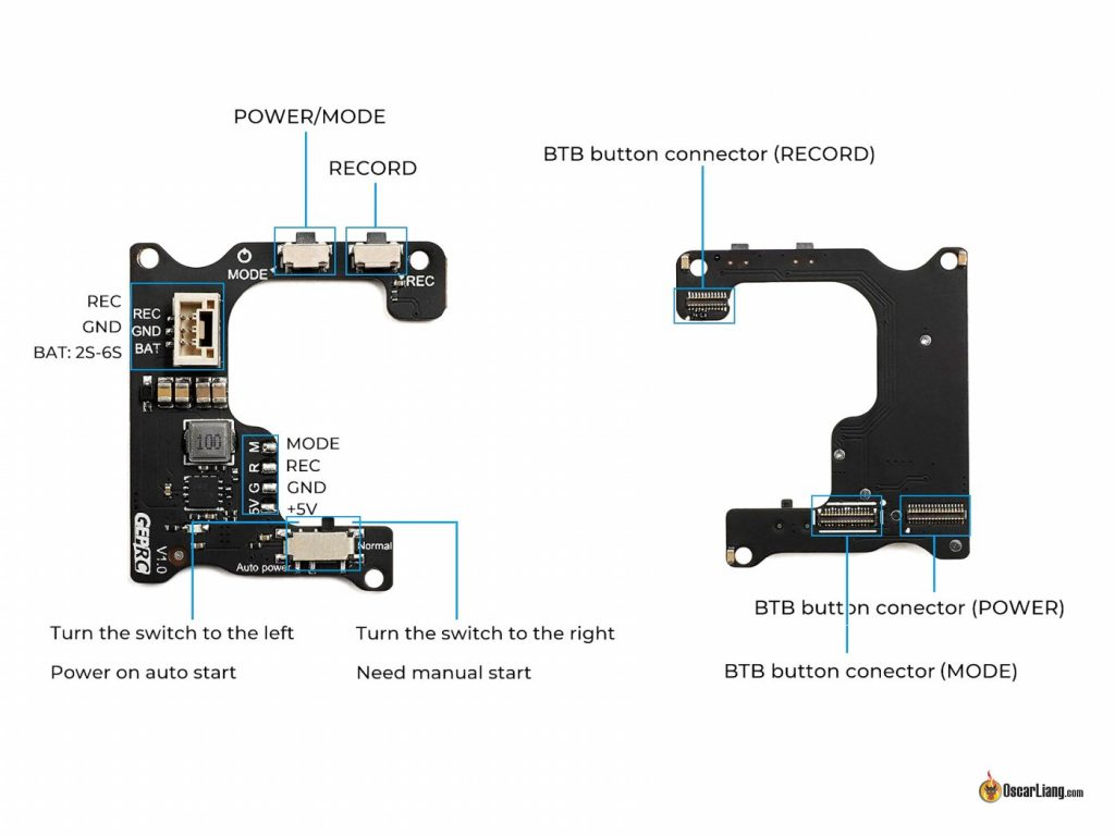 GEPRC Naked GoPro 8 Case BEC board pinout button diagram