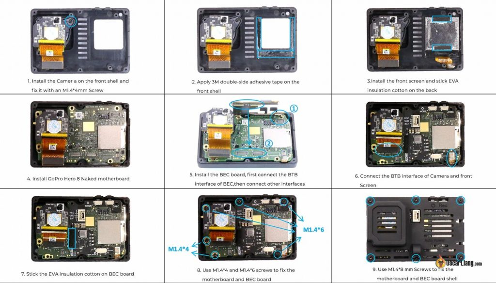 how to assemble install GEPRC Naked GoPro 8 Case